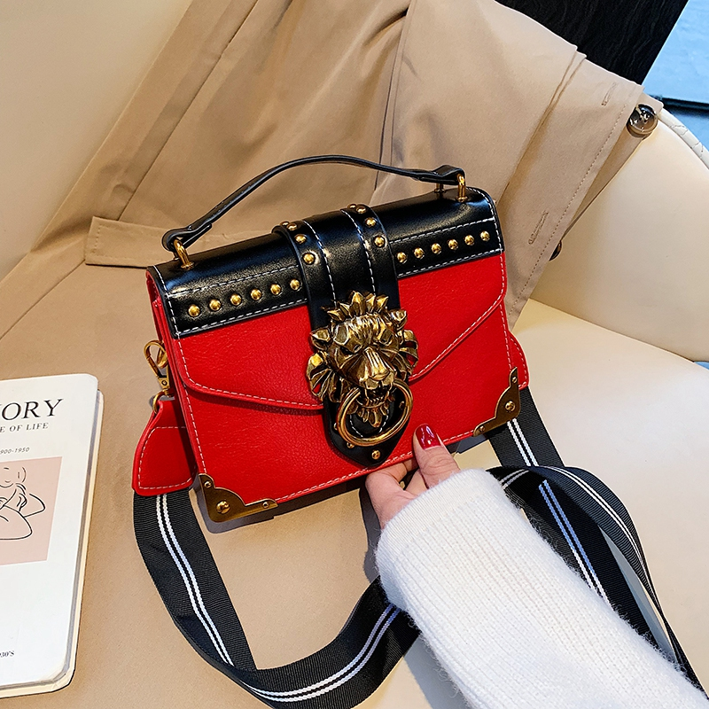 Hc00736146a0b40c9ac1dda63928e5dads - Female Fashion Handbags Popular Girls Crossbody Bags Totes Woman Metal Lion Head  Shoulder Purse Mini Square Messenger Bag