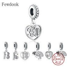 Ajuste original marca charme pulseira autêntico 925 prata alfabeto & números 18 21 50 60 anos de amor grânulo fazer berloque 2020