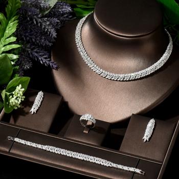 HIBRIDE wysokiej jakości kształt liścia wisiorek ślub biżuteria cyrkonia zestawy kostium akcesoria dla nowożeńców 4 sztuk zestaw dla Marry N-123 tanie i dobre opinie Miedziane CN (pochodzenie) Kobiety TRENDY 1 pcs Necklace+1 pair Earring+1pcs ring+1pcs bracelet Naszyjnik kolczyki pierścionek bransoletka