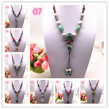 Fashion Ceramics Beads Pendant Ethnic Long Necklace Chain DIY Jewelry Style Color U Pick(China)