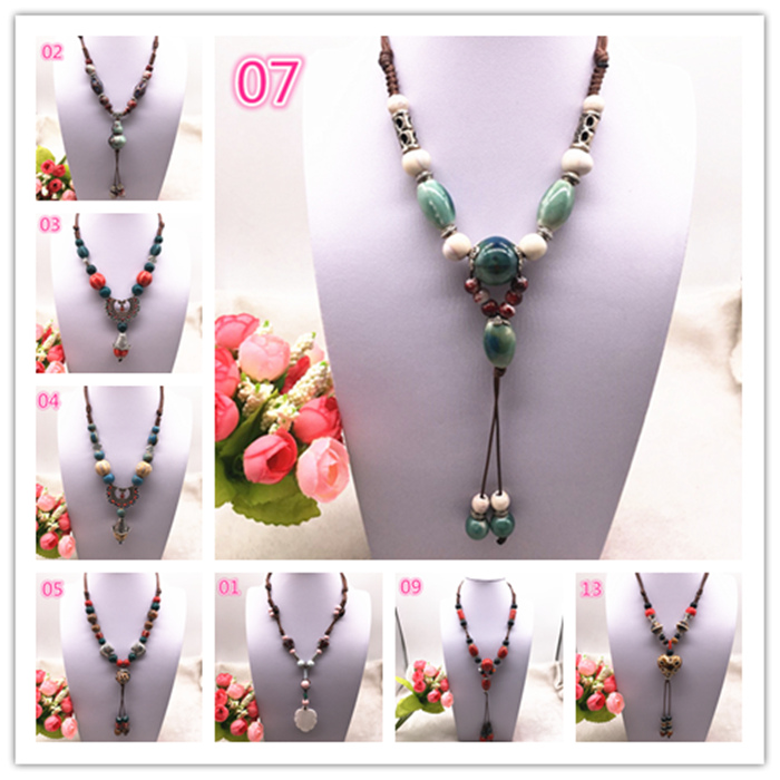 Fashion Ceramics Beads Pendant Ethnic Long Necklace Chain DIY Jewelry Style Color U Pick title=