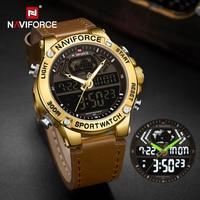 NAVIFORCE-Reloj de pulsera de cuarzo para hombre, cronógrafo deportivo Digital, militar, resistente al agua, de cuero