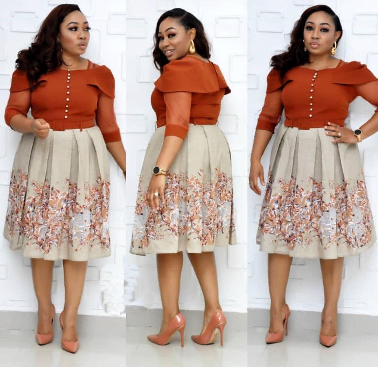 2019 New Arrival Autumn Elegent African Women Printing Plus Size Knee-length Dress XL-3XL