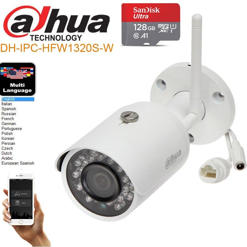 mutil language Dahua 3MP DH-IPC-HFW1320S-W 3MP wifi wireless IP camera P2P dahua Easy4ip cloud support IP camera IPC-HFW1320S-W