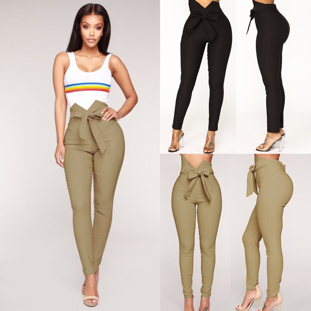Womens Skinny Slim Stretchy Bandage Bowknot Pants Jeggings Pencil Trousers Casual Solid Drawstring High Waist Skinny Trousers