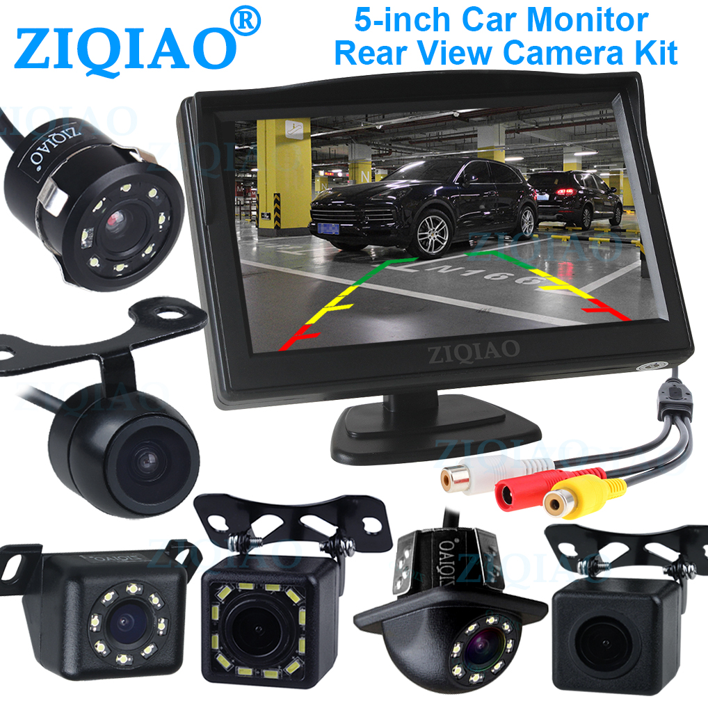 ZIQIAO Parking Reverse Monitor System with 5 Inch TFT LCD Display Monitor Universal Reverse Rear View Camera Optional