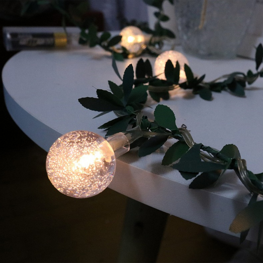 Ball Bulb LED String Fairy Light Green Leaf Vine Solar/ USB/ Battery Operated LED Lights Yard Christmas Wedding Party Decoration