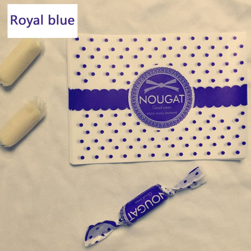 100pcs/lot Navy Blue Dot Thicken Candy Soft Nougat Bag Fleck Twisting Wax Paper Wedding Party Supplies Bow Gift Wrap