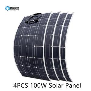 Image 1 - 2Pcs 4Pcs 10Pcs 100 W פנל סולארי Monocrystalline תאים סולריים גמיש עבור רכב/יאכטה/ספינת קיטור 12V 24 וולט 100 ואט סולארי סוללה