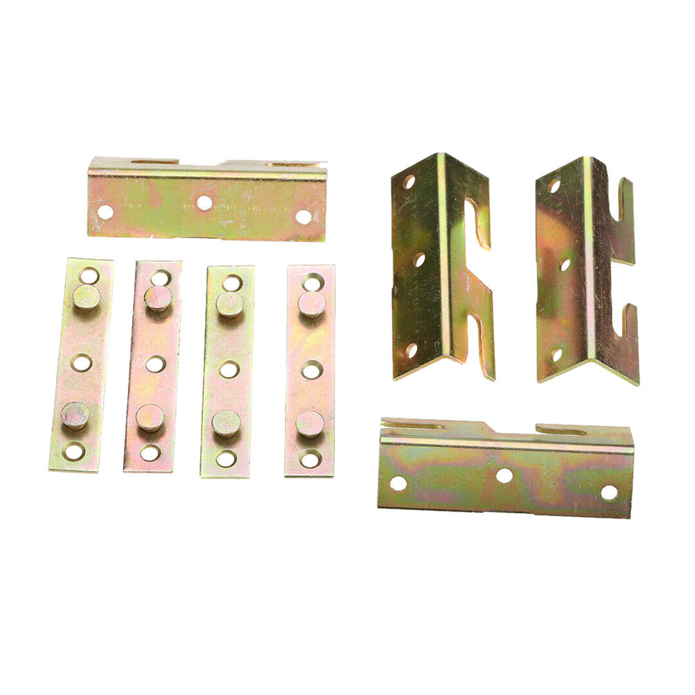4pcs Home Iron Fittings Connectors Furniture Wood Bed Brackets Joiners Hook Frame Replacement Rail Bracket Hardware Accessories