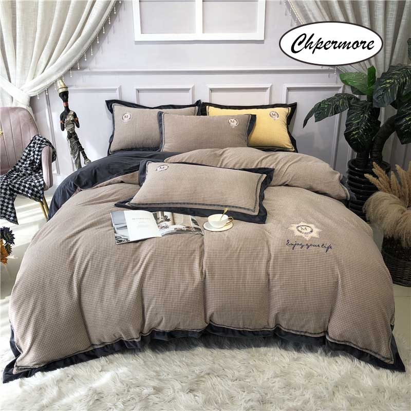 Chpermore winter European style Bedding set Thickened milk cashmere Duvet cover Sets Bed Sheets pillowcases Queen King Size