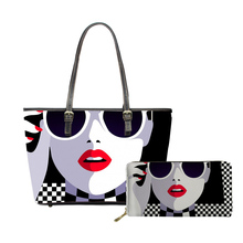 NOISYDESIGNS 2019 Women Luxury 2pcs/set Handbags Pop Arts Style Printing Girls Large Purse Shoulder Bags Designer Bolsa Feminina