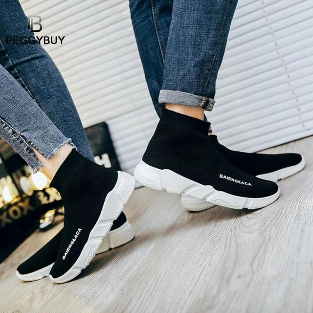 Fashion Sneakers Women Trainers Casual Slip On Socks Shoes Summer Women Vulcanized Shoe Sport Students Girl Ankle Boots Shoes 2