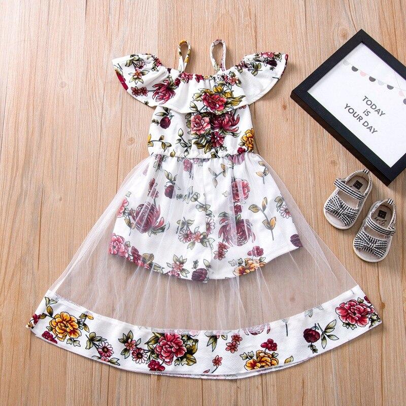 2020 New Kids Dress For Girls Cotton Summer Dress Flower Girls Clothes Strapless Princess Dress Girl Vestidos