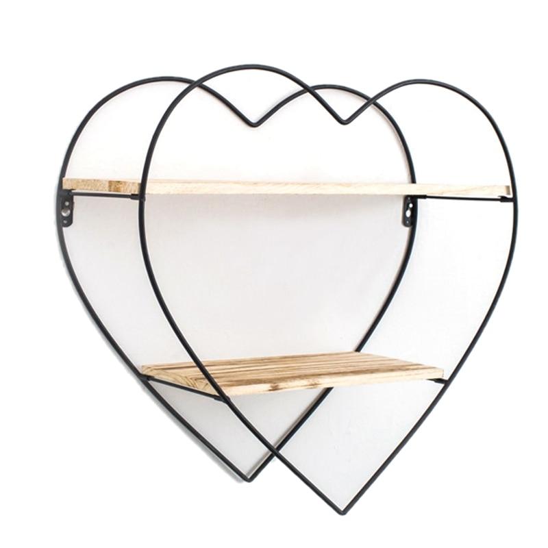 Wooden Retro Storage Racks Hanging Decor Storage Box Flower Pot Heart-Shaped Peach Iron And Wood Wall Bookshelf Shelf Shelves