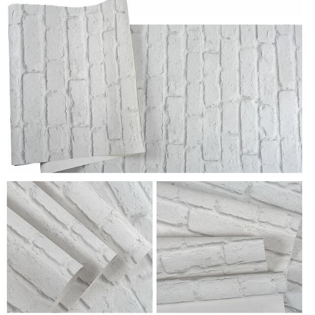 3D White Brick Effect Wallpaper Roll Light Grey Modern Vintage Rustic Vinyl PVC Faux Brick