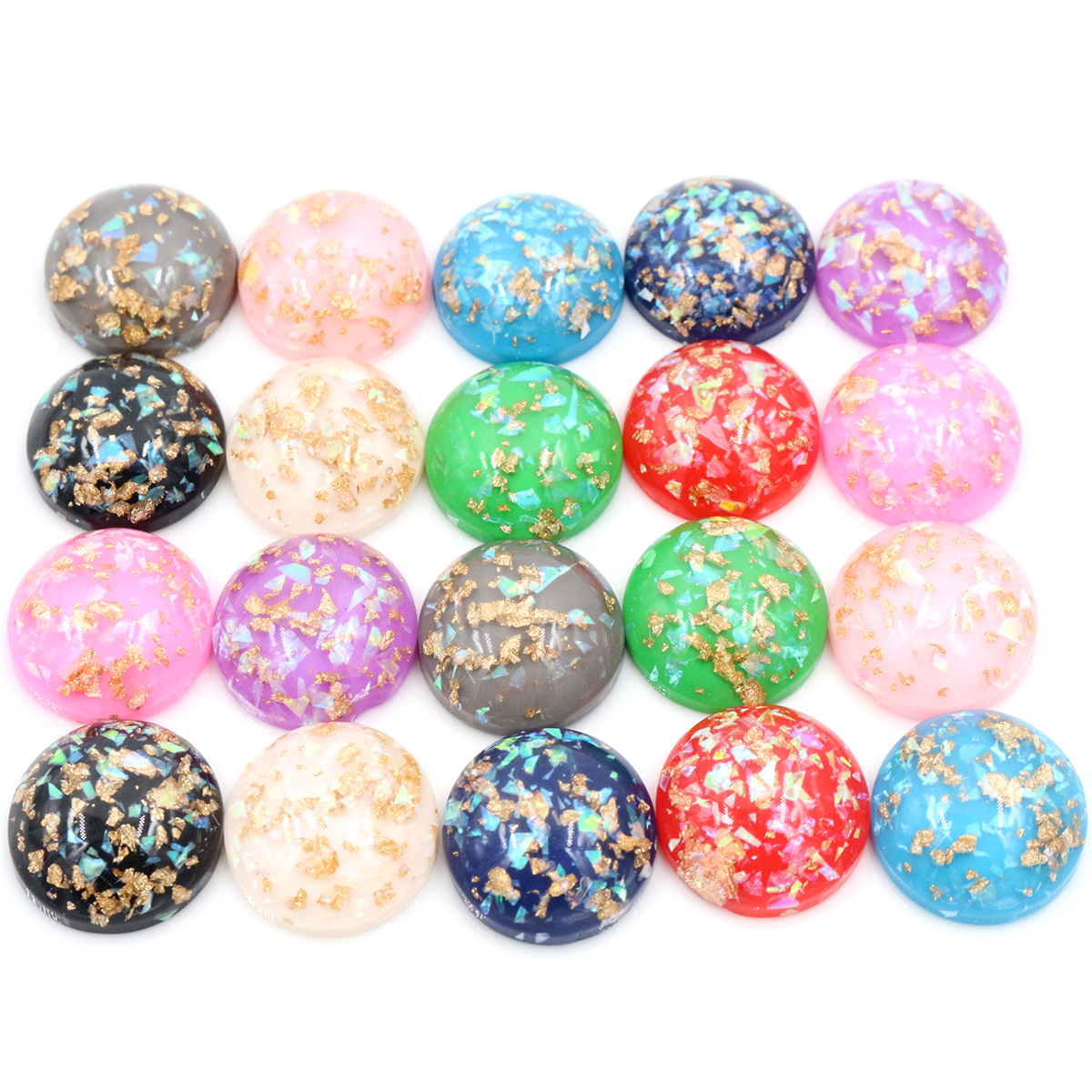20mm 10pcs/Lot New Fashion Mix Color Built-in Metal Foil Flat Back Resin Cabochons Cameo