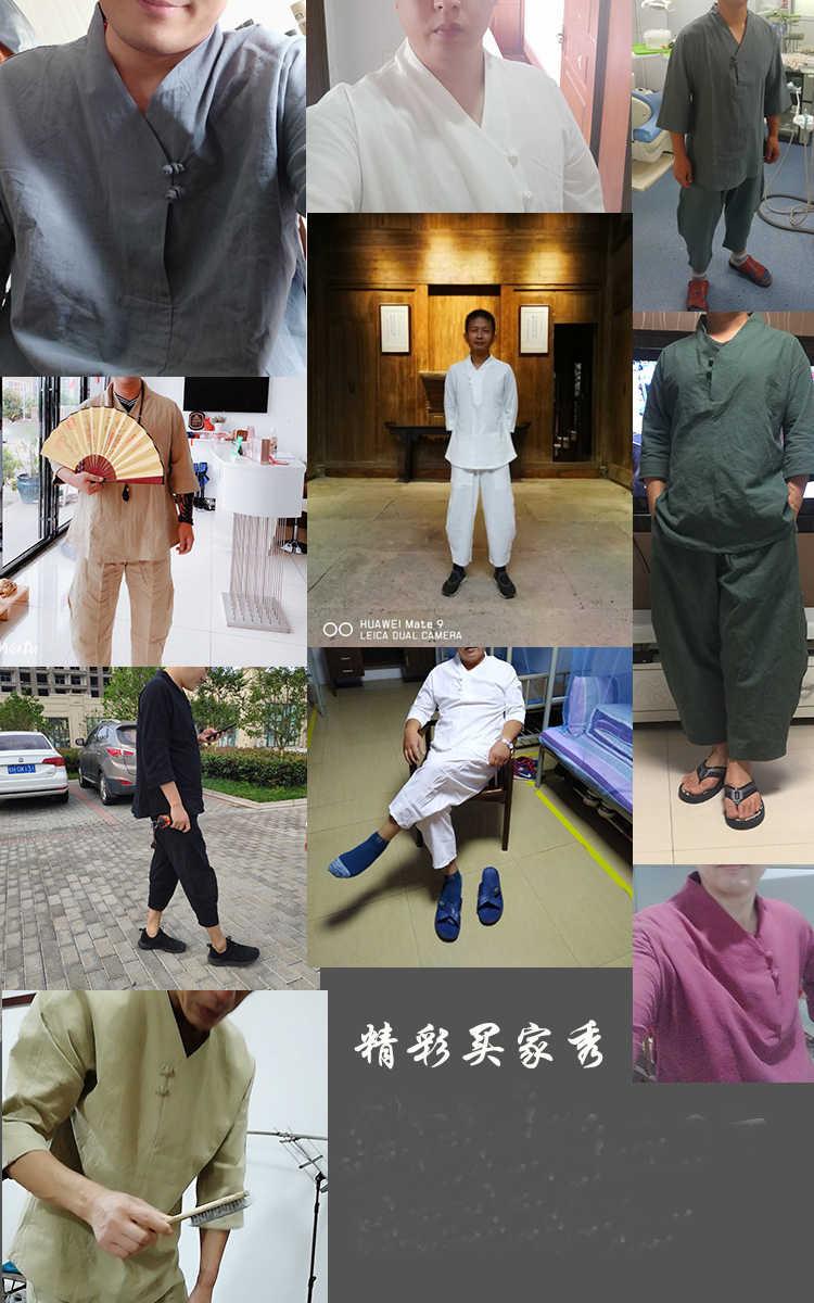 7 اللون الذكور رمادي/أحمر/أسود جودة عالية القطن و الكتان تاي تشي اليوغا الملابس تانغ الدعاوى hanfu الكونغ فو زن لاي التأمل زي