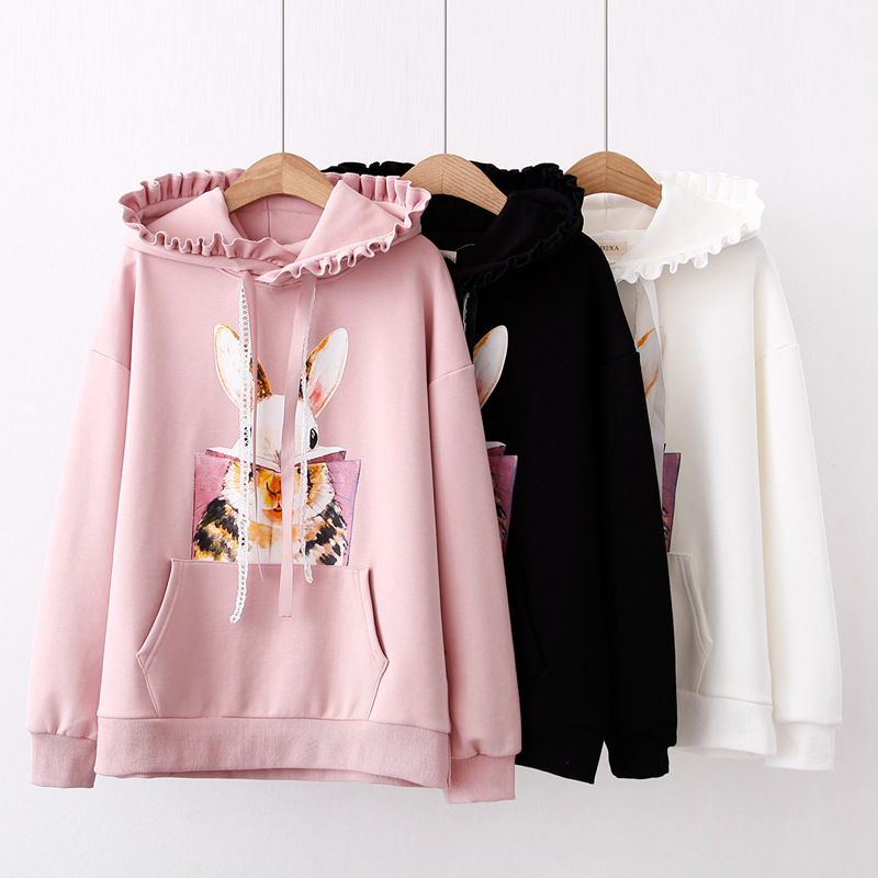 Autumn Korea Kawaii Cotton Fleece Hoodies Women Teens Girl Harajuku Pink Bunny Cartoon Printed Full sleeve Pullover with Ribbon