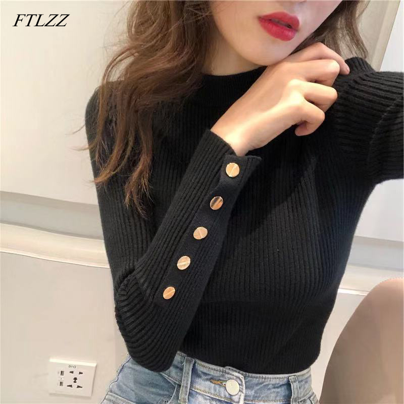 FTLZZ New Women Sweater High Elastic Solid O Neck Spring Summer Fashion Sweater Women Slim Hight Bottoming Knitted Pullovers