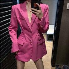 New Designer Fashion Elegent Solid Blazer Women Slim Fitting