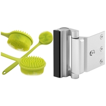 1x Back Brush, Silicone Body Brush Double Sided Brush & 2Pcs Security Defender Reinforcement Lock Withstand 800 Lbs