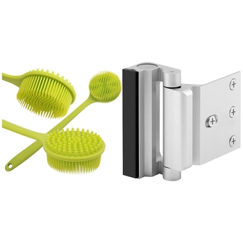 1x Back Brush, Silicone Body Brush Double Sided & 2Pcs Security Defender Reinforcement Lock Withstand 800 Lbs
