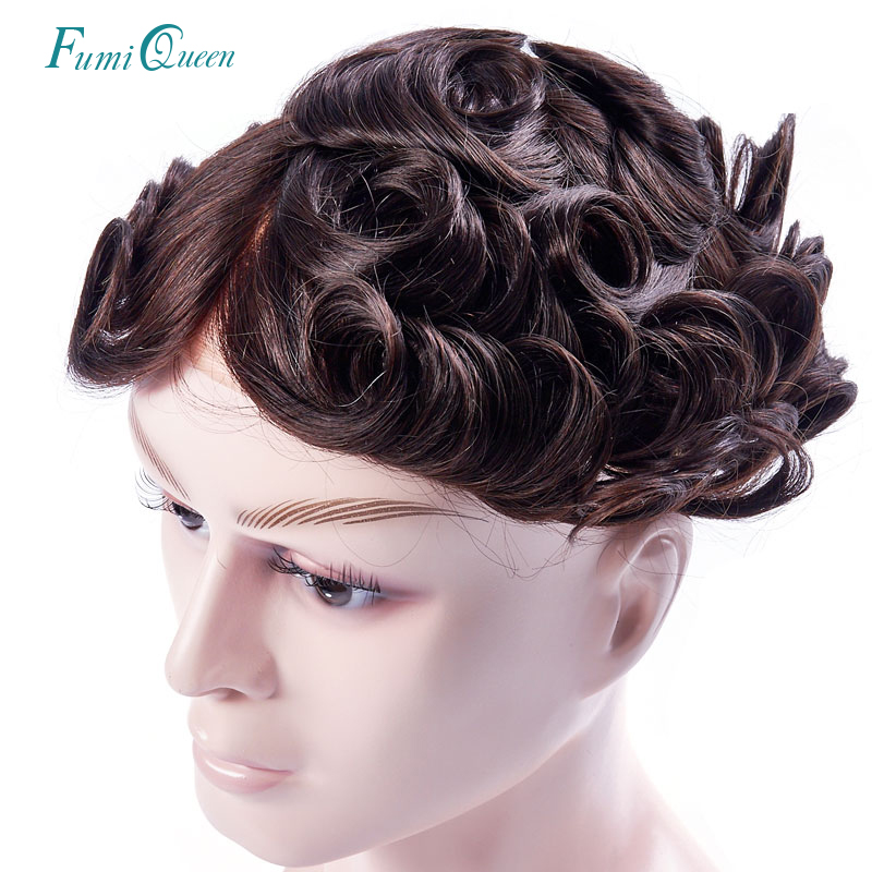 Ali FumiQueen Find Mono Lace With Thin PU Mens Toupee Hair Replacement Systems Indian Remy Human Hair Toupee Men HairPiece Wig
