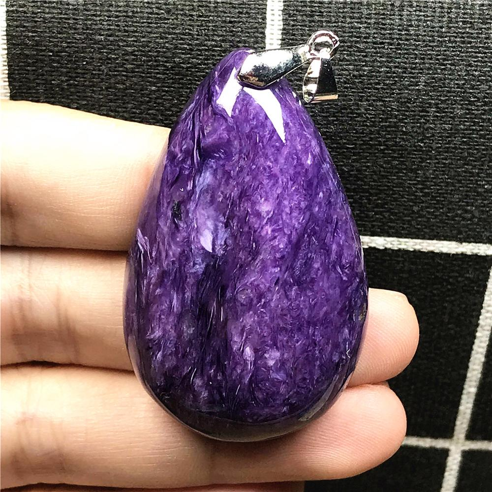 Big Natural Purple Charoite Necklace Pendant For Woman Lady Man Silver Crystal 50x30x11mm Water Drop  Beads Stone Jewelry AAAAA