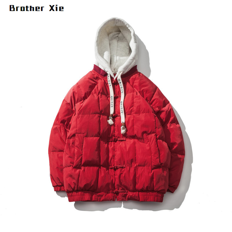 Winter New Jacket Men Fashion Solid Color Thick Warm Hooded Coat Man Streetwear Wild Loose Chinese Wind Cotton Male Clothes