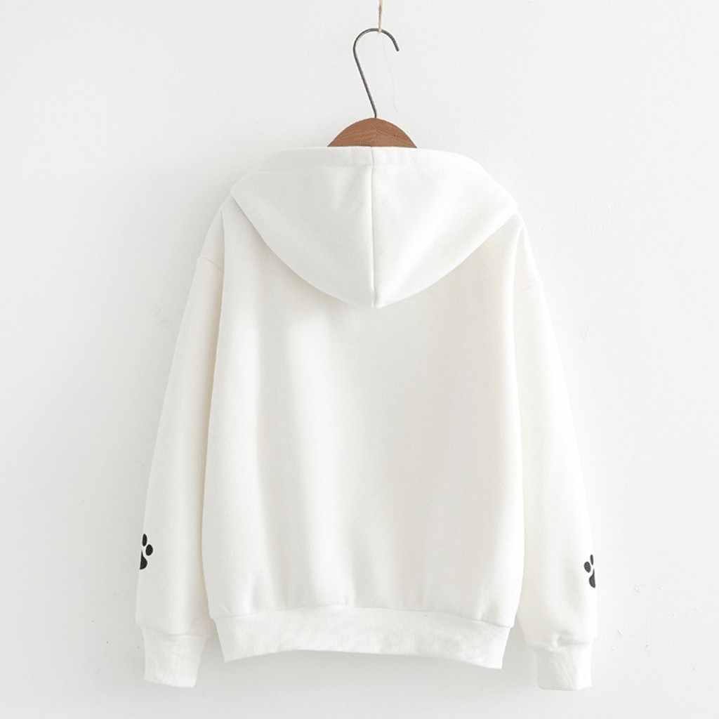ふわふわパーカーファッション女性トップ猫印刷シャツスウェットシャツルースブラウス秋のコートの女性パーカースウェットオフホワイト