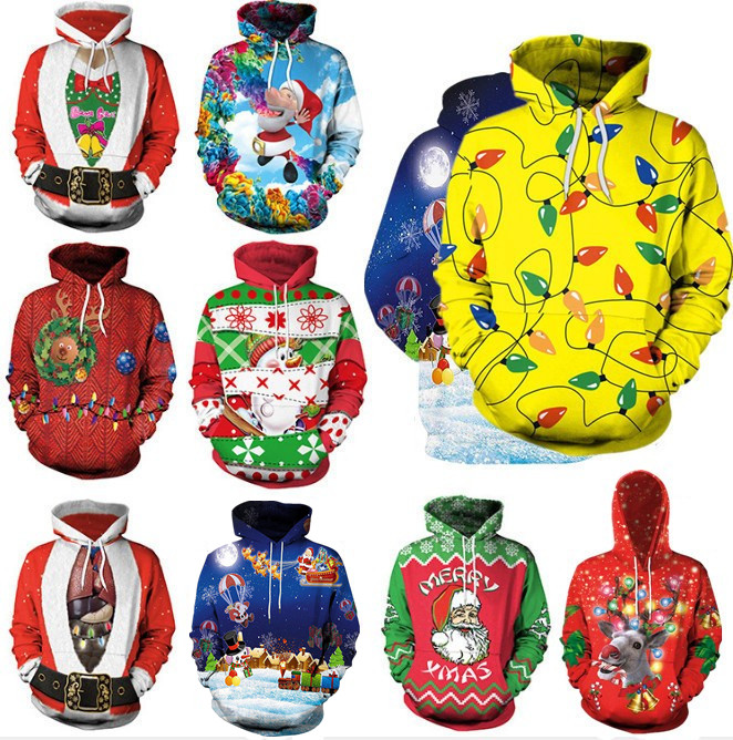 Clothing Unisex  Ugly Christmas Sweater For Holidays Santa Elf Christmas Funny Fake Hair Sweater Autumn Winter Hooded Ropa