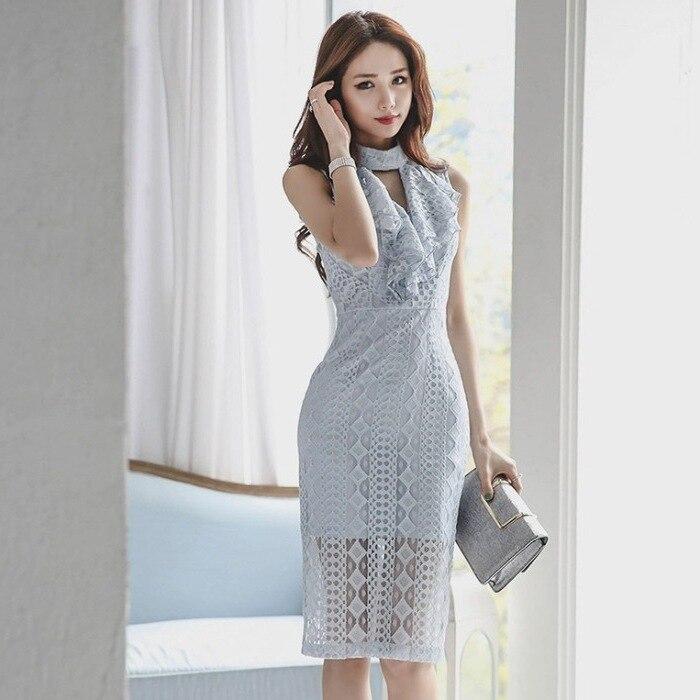 Style coréen nouveau été Sexy coupe mince Debutante robe élégante dentelle taille étreinte Ol Debutante collants vêtements pour femmes une pièce