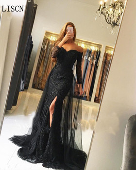 цена на Custom High Side Split Beaded Off Shoulder Black Mermaid Evening Dress Long Sleeve Lace Formal Gown With Detachable Tulle Train