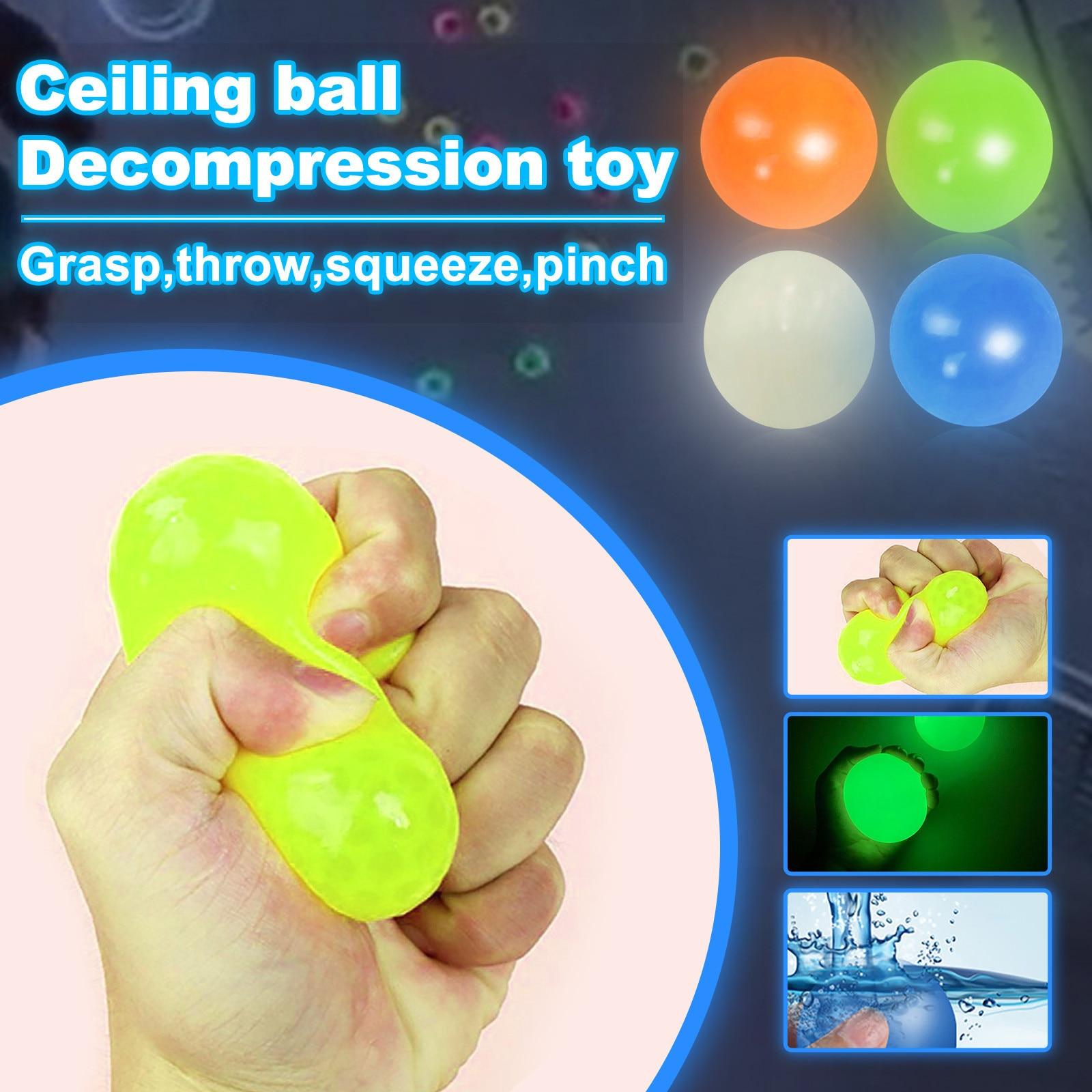 3PCS Luminous Moonlight High Bounce Toy Suction Balls Stick Wall Ball Gift for Kids Fun img4