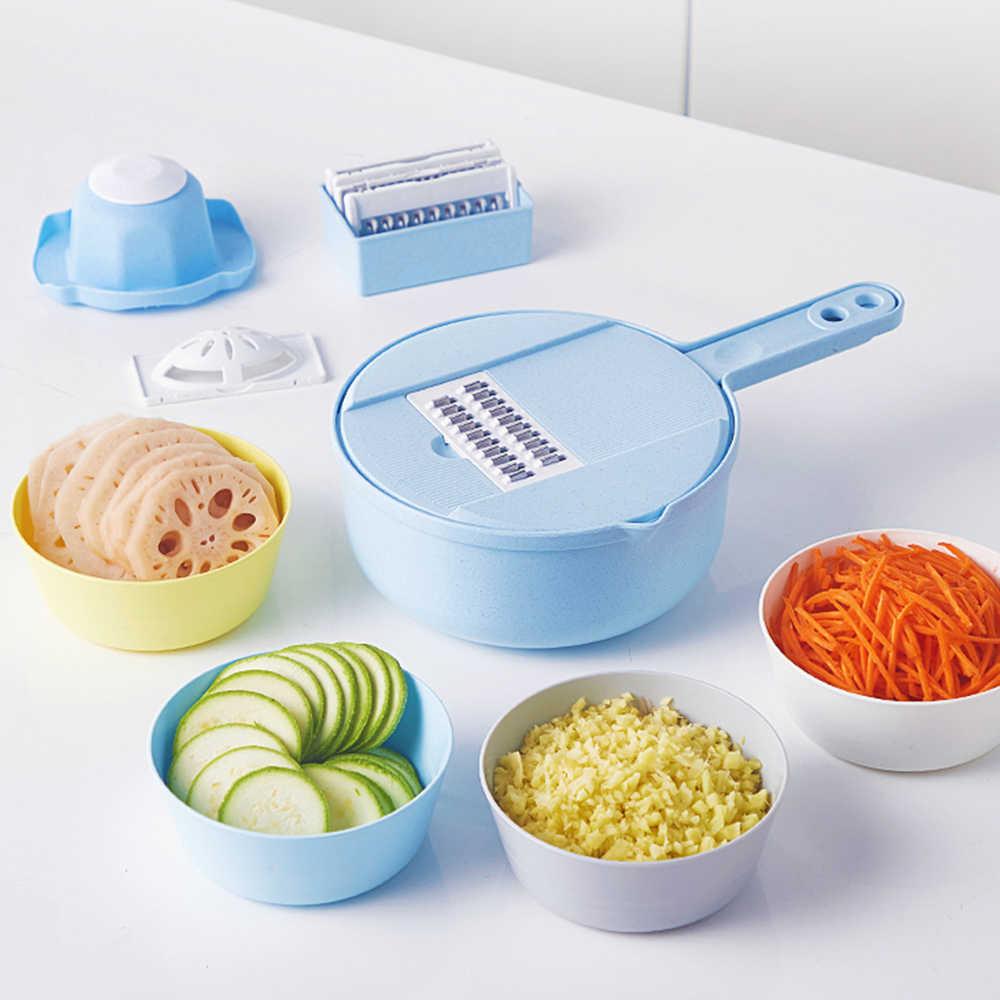 XYj Slicer Gemüse Slicer Kartoffel Schäler Karotte Zwiebel Reibe mit Sieb Gemüse Cutter 8 in 1 Küche Zubehör
