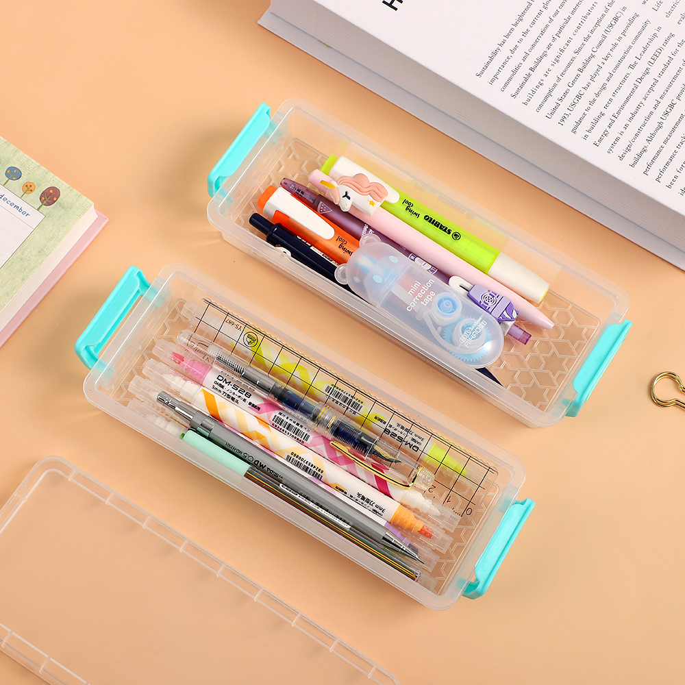 Transparent Plastic Stationery Pen Pencil Box Case,Small Parts Organizer Box
