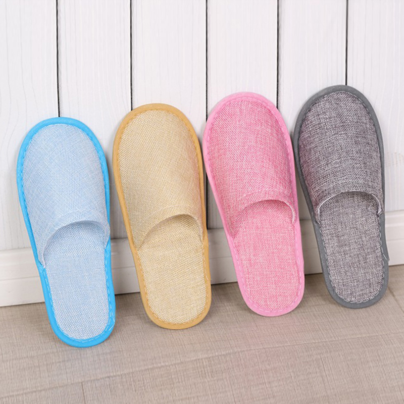 Women. Simple Linen Anti-Slip Slippers Home Hotel Indoor Shoes For Men