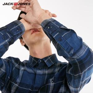 Image 5 - Jackjones Mannen 100% Katoen Slanke Lange Mouwen Geruite Overhemd 218405511