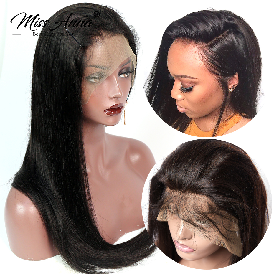 MissAnna 360 Lace Frontal Wigs Brazilian Remy Hair Straight Pre Plucked Lace Front Human Hair Wigs
