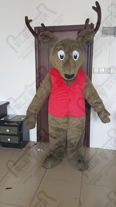quality red vest reindeer mascot  costumes cartoon plush fur deer mascot design