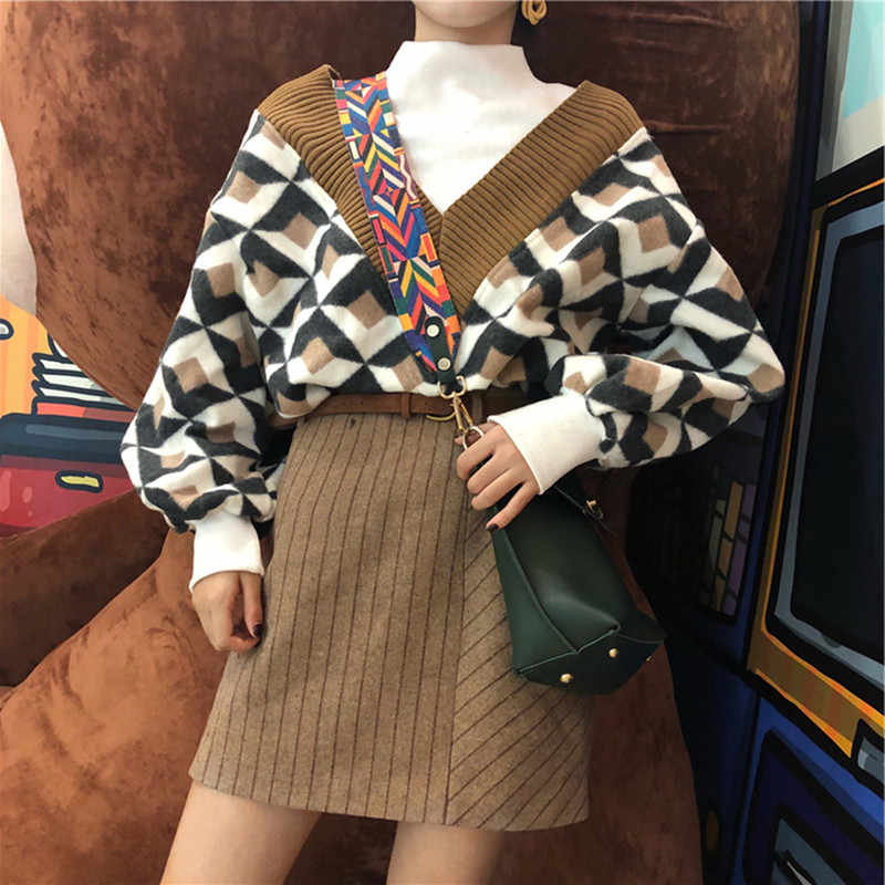 Women Striped Skirt 2 Piece set Autumn Winter New Women's V-Collar Geometric Pattern Printed Pullover + Mini-striped Skirt Suit