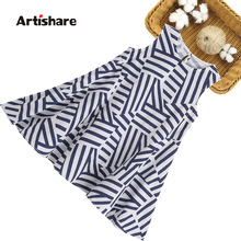 Kids Dresses For Girls Striped Kids Party Dresses For Girls Casual Style Children Dresses Summer Childrens Clothing 6 8 10 12 14 cheap artishare Cotton Polyester CN(Origin) Knee-Length O-neck Regular Sleeveless Fits true to size take your normal size PATTERN