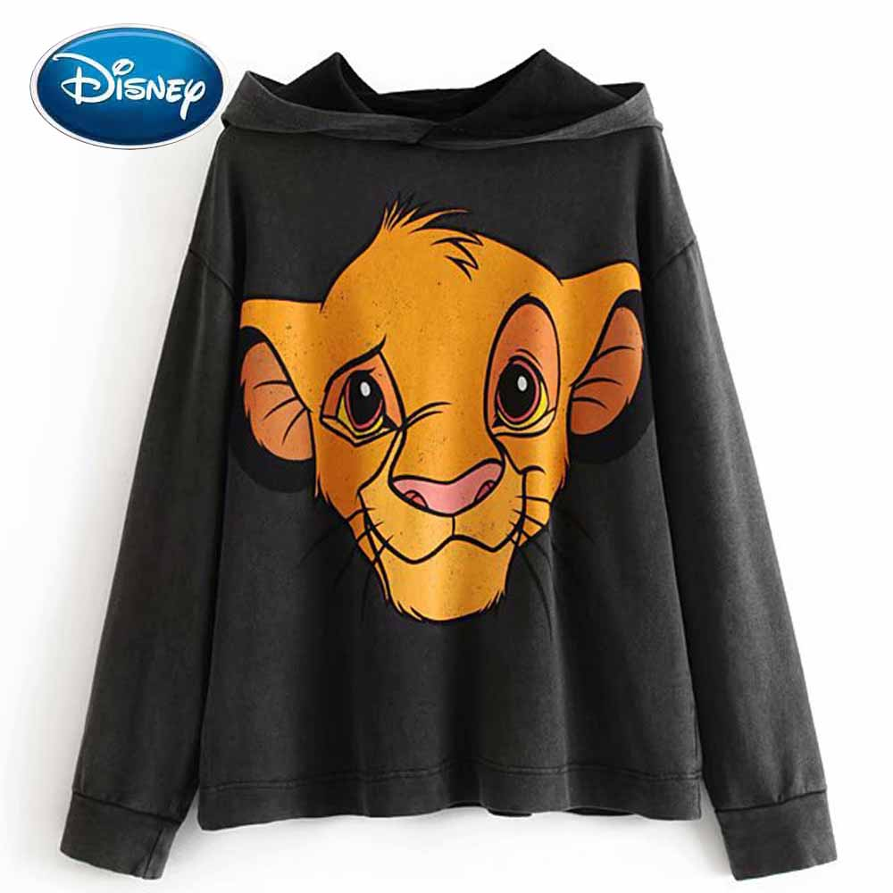 Disney Stylish The Lion King King Of The Jungle Cartoon Print T-Shirt Hoodie Pullover Casual Lady Long Sleeve Harajuku Loose Top