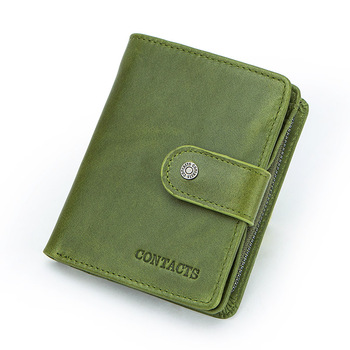Contact's Genuine Leather Wallets Women Men Wallet Short Small Rfid Card Holder Wallets Ladies Red Coin Purse Portfel Damski 10