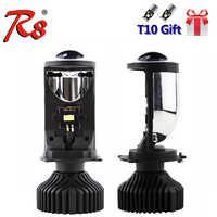 R8 2PCS/Set H4 9003 Hi/Lo Beam LED Mini Projector Lens Car Styling Headlight Bulbs Automobile Lamp 6000K 8000LM Focused Light Y6