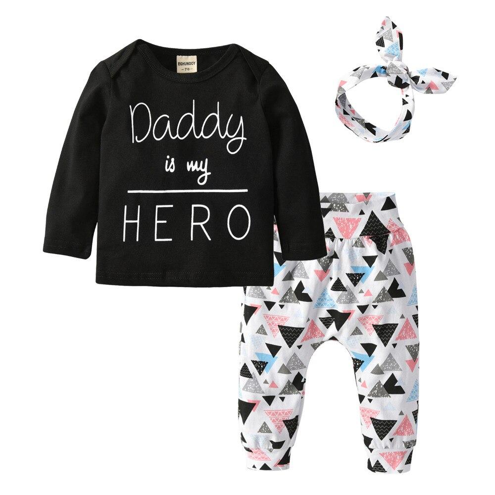 Bebê recém-nascido roupas da menina papai é meu herói 3 pçs conjunto de roupas manga longa camiseta + calças bandana infantil roupas da criança terno