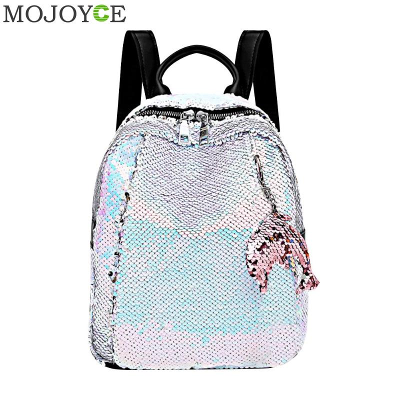 Backpack Fashion Lady Cartoon Sequins School Backpack Travel Satchel Girls Student Panelled Zipper Backpack Mochila