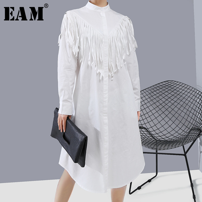 [EAM] Women White Tassels Split Joint Shirt Dress New Stand Collar Long Sleeve Loose Fit Fashion Tide Spring Autumn 2020 1R311