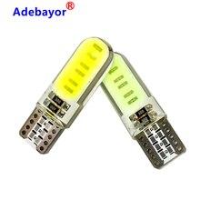 200pcs סיליקון ג ל T10 W5W COB LED רכב אור 12 SMD שבבי 12V טרז צד חניה קריאת הנורה אות מנורת עמילות דלת אור